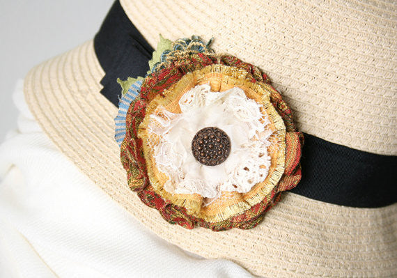 colorful fabric flower brooch