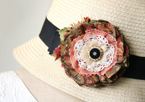 rosy pink fabric flower brooch