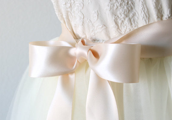 pale blush pink satin ribbon sash