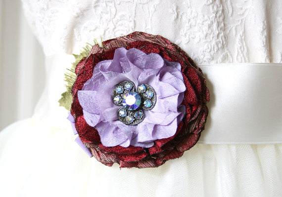 fabric flower pin, red, purple