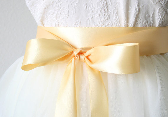 satin ribbon sash yellow