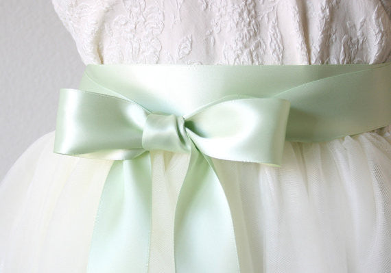 Satin Ribbon Belt - Mint Green, Sea Foam, 1.5 Inches Wide