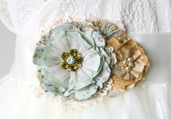 wedding sash with mint and yellow flowers