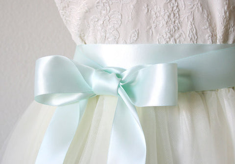 Mint Blue Satin Ribbon Belt