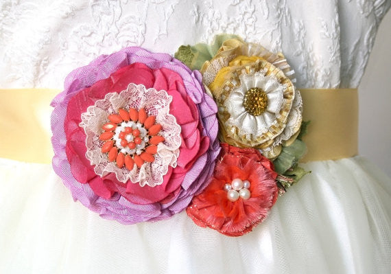 colorful floral wedding sash in coral, pink, yellow