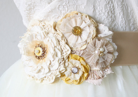 floral bridal sash, yellow and ivory white