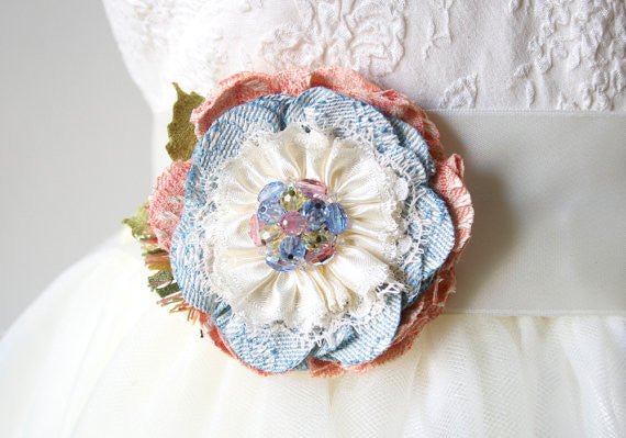 pink and baby blue flower corsage pin