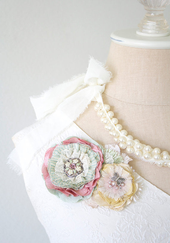 fabric flower corsage pin in pastel colors