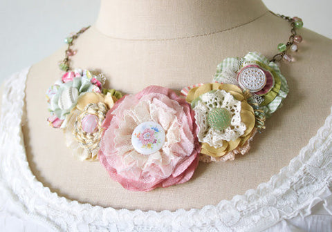 Pastel Garden Fabric Flower Necklace