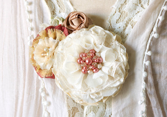 Flower Brooch Pin - Coral Pink, Rose Gold and Ivory Fabric Blossoms