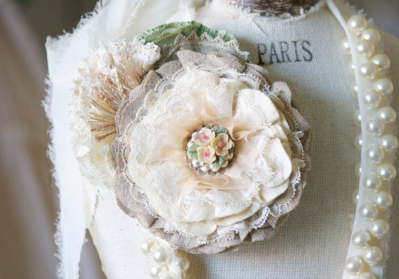 rustic vintage fabric flower pin