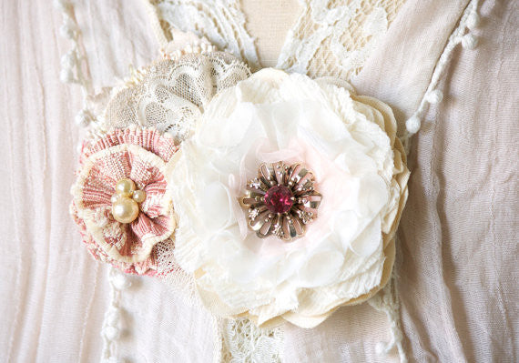 Rustic Flower Corsage Pin - Pink and Ivory Blossoms
