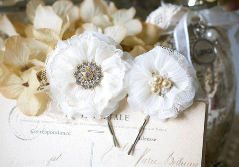 Bridal Hair Pins - Ivory Fabric Flowers with Pearl and Rhinestone Centers