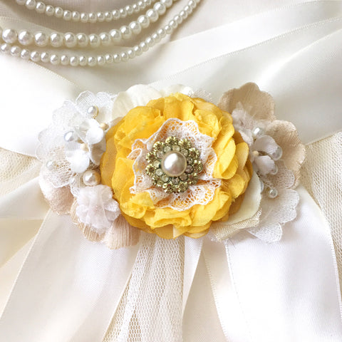 Floral Bridal Sash ~ Sunshine Yellow Blossom