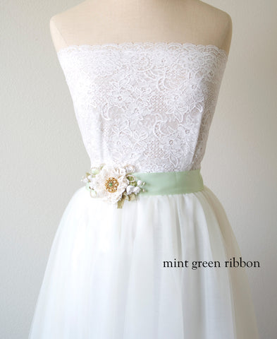 green bridal sash