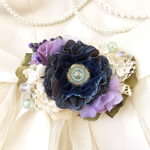 Blue Violet Floral Bridal Belt