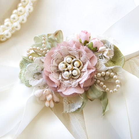 Swirls of Pearls ~ Petal Pink Floral Sash