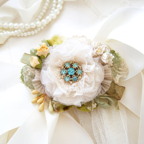 Floral Wedding Dress Belt - Turquoise Blue and Yellow