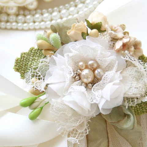 bridal sash with pearls