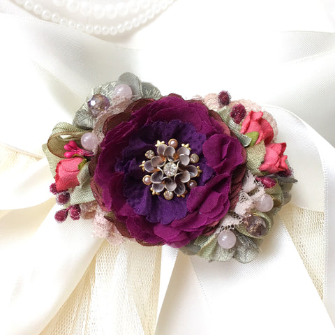 Colorful Wedding Dress Belt ~ Purple Flower