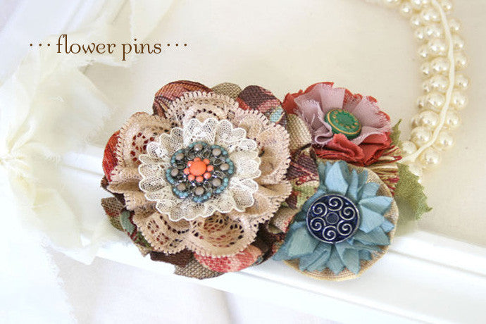 fabric flower pin