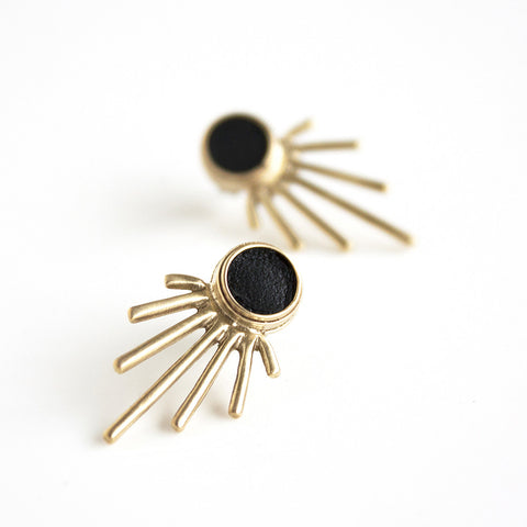 Leather Burst Statement Earrings