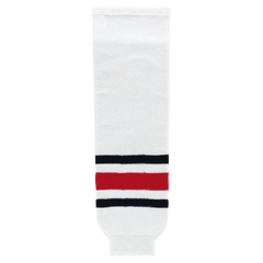 Athletic Knit (AK) HS630-891 2010 Columbus Blue Jackets White Ice Hockey Socks