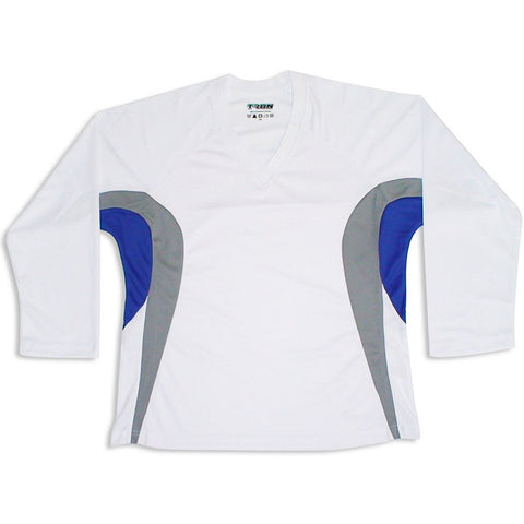 Tron DJ200 White/Royal Blue Dry Fit Practice Hockey Jersey - PSH Sports