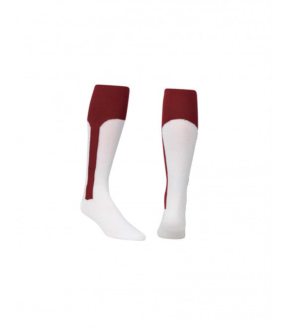 Score Sports White/Burgundy Knit Stirrup No.8110 Baseball Socks