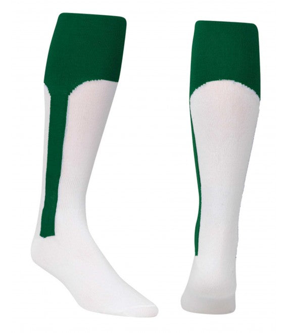 Score Sports White/Hunter Green Knit Stirrup No.8110 Baseball Socks