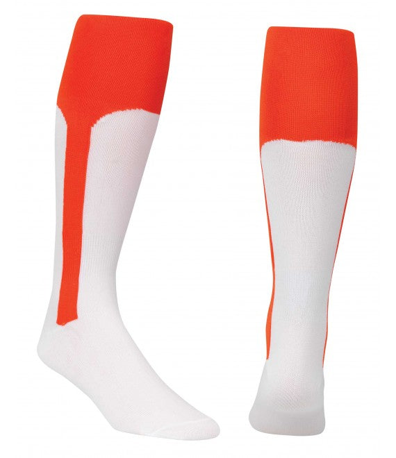 Score Sports White/Orange Knit Stirrup No.8110 Baseball Socks