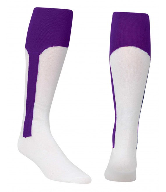 Score Sports White/Purple Knit Stirrup No.8110 Baseball Socks