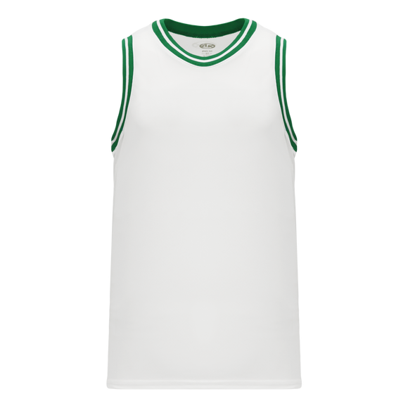 Athletic Knit (AK) B1710-211 White/Kelly Green Pro Basketball Jersey
