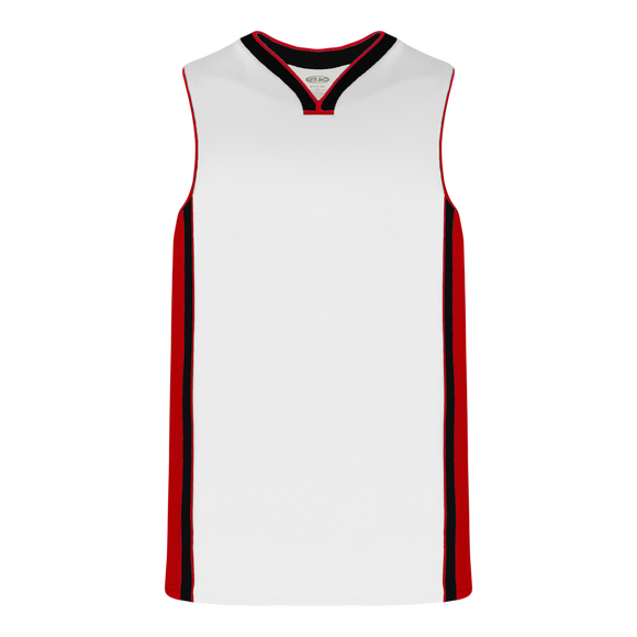 Athletic Knit (AK) B1715-415 White/Red/Black Pro Basketball Jersey