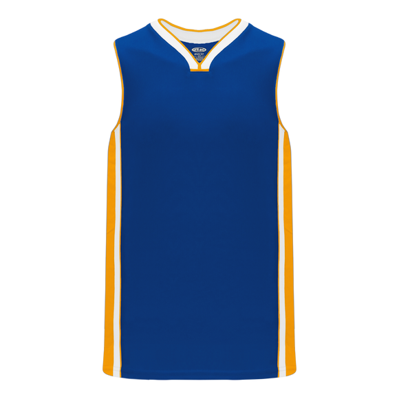 Athletic Knit (AK) B1715-447 Royal Blue/Gold/White Pro Basketball Jersey