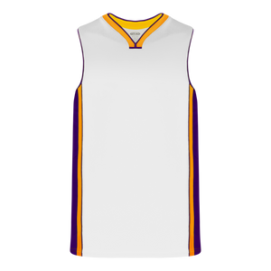 Athletic Knit (AK) B1715 White/Purple/Gold Pro Basketball Jersey