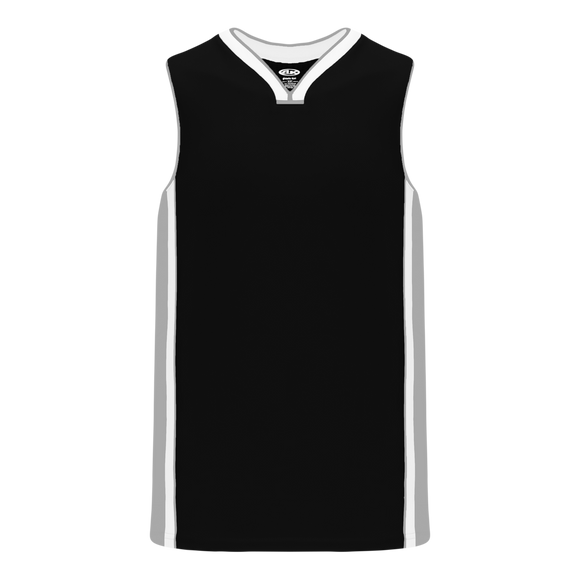 Athletic Knit (AK) B1715 Black/Grey/White Pro Basketball Jersey
