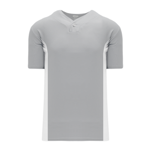 Athletic Knit (AK) BA1343-245 Grey/White One-Button Baseball Jersey
