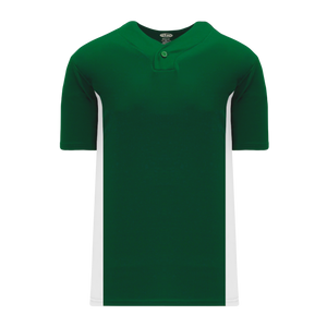 Athletic Knit (AK) BA1343-260 Dark Green/White One-Button Baseball Jersey