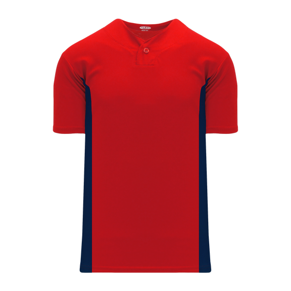 Athletic Knit (AK) BA1343Y-268 Youth Red/Navy One-Button Baseball Jersey