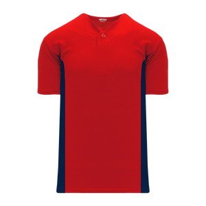 Athletic Knit (AK) BA1343A-268 Adult Red/Navy One-Button Baseball Jersey