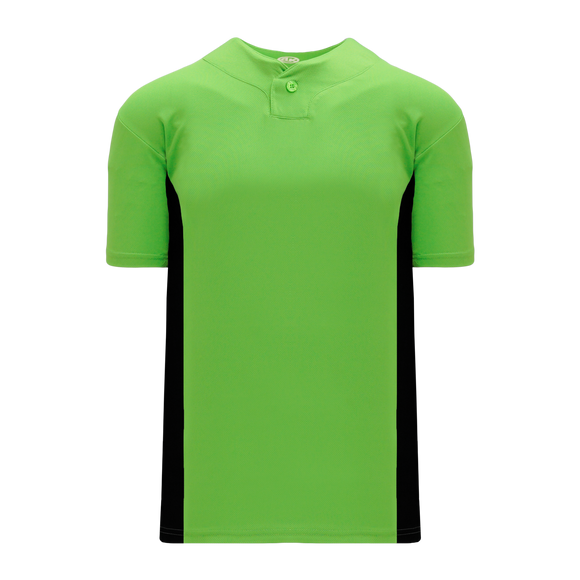 Athletic Knit (AK) BA1343Y-269 Youth Lime Green/Black One-Button Baseball Jersey