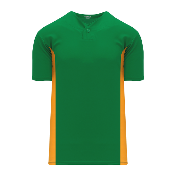 Athletic Knit (AK) BA1343A-278 Adult Kelly Green/Gold One-Button Baseball Jersey