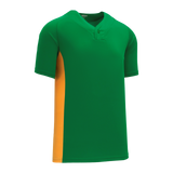 Athletic Knit (AK) BA1343-278 Kelly Green/Gold One-Button Baseball Jersey