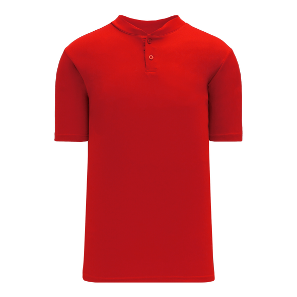 Athletic Knit (AK) BA1347-005 Red Two-Button Baseball Jersey