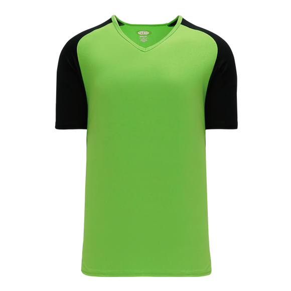 Athletic Knit (AK) BA1375-269 Lime Green/Black Pullover Baseball Jersey