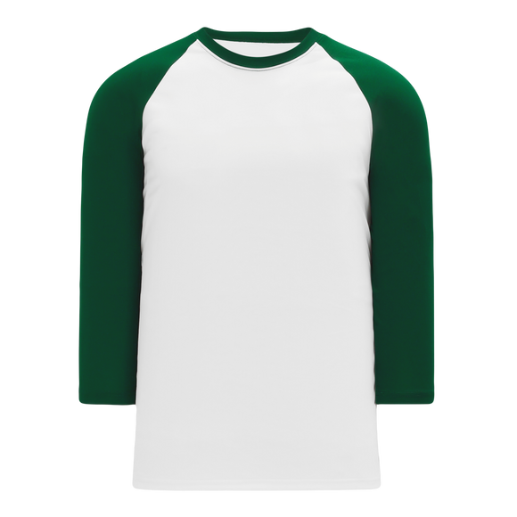 Athletic Knit (AK) BA1846A-279 Adult White/Dark Green Pullover Baseball Jersey