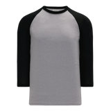 Athletic Knit (AK) BA1846-920 Heather Grey/Black Pullover Baseball Jersey