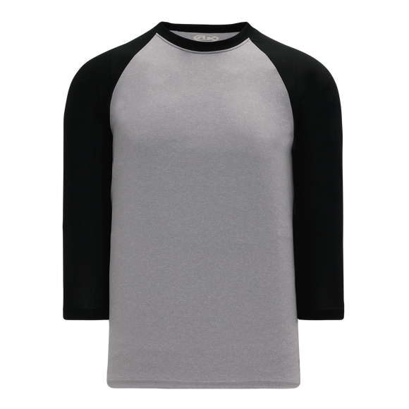Athletic Knit (AK) BA1846Y-920 Youth Heather Grey/Black Pullover Baseball Jersey