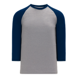 Athletic Knit (AK) BA1846 Heather Grey/Navy Pullover Baseball Jersey